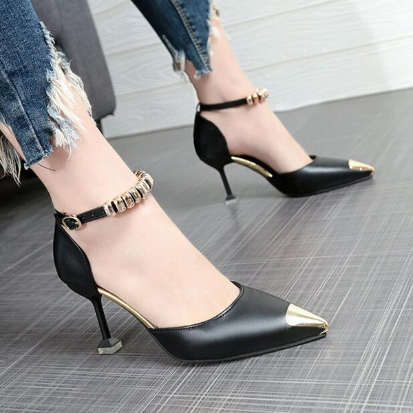 Ladies' new Korean version casual sharp and sexy summer fashion a word with high quality and cool shoes