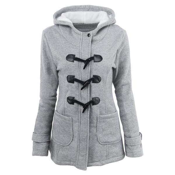 2018 veste de col de fourrure d'hiver chaud femmes nouvelle corne bouton long manteau bas femmes parka Plus Size parka à capuche femmes S18101306