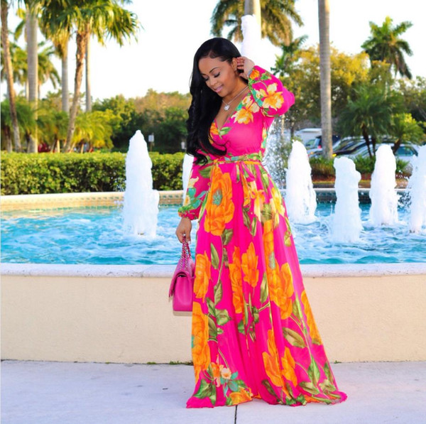 Dresses 2018 New Fashion Super Size African Loose Long Dashiki Flower Pattern Printing Nation Printing For Lady