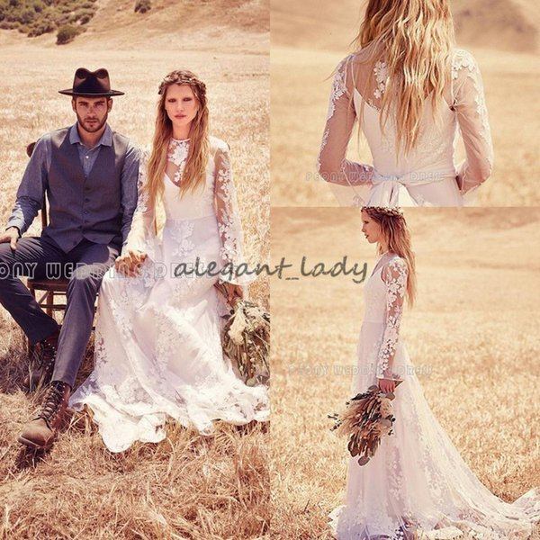 Long Sleeve Lace Bohemian Hippie Wedding Dresses 2018 Retro Vintage Country Holiday Free People Bridal Reception Dress for Wedding