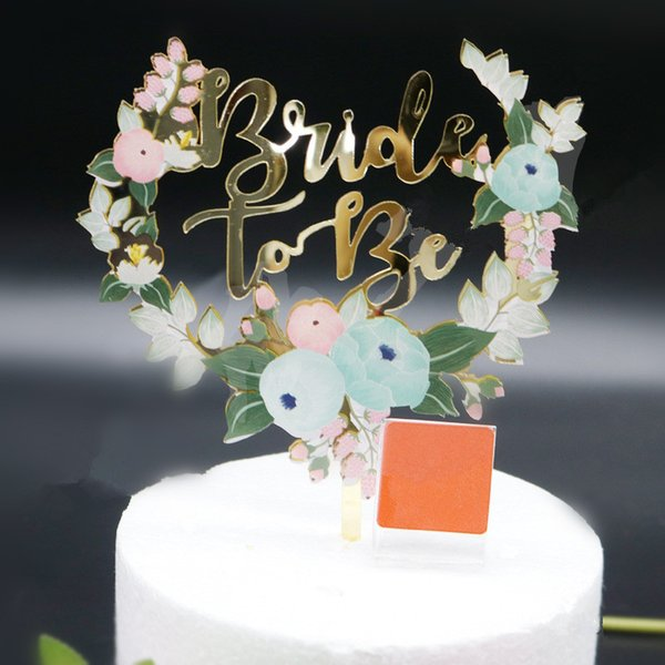 2019 Bride To Be Flower Cake Topper Acrylic Wedding Cake Toppers Bridal Shower Decoration Flower Cake Insert From Youergarden 51 51 Dhgate Com