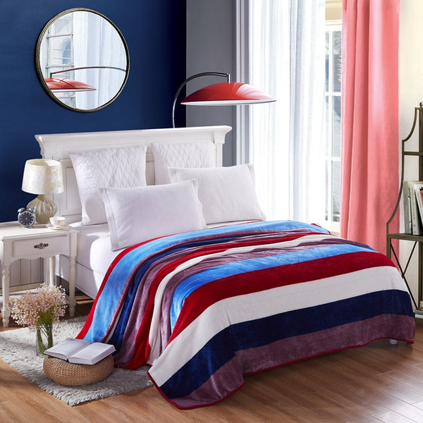 Color Stripe Pattern Bedspread Blanket 230x250cm High Density Soft Flannel Blanket To On For The Sofa/Bed/Car Portable Plaids