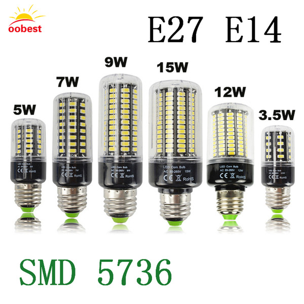 OOBEST Full NEW LED lamp E27 E14 3.5W 5W 7W 9W 12W 15W SMD 5736 Corn Bulb 220V Chandelier LEDs Candle light Spotlight