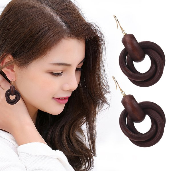 Fashion Round Spiral Wood Earrings for Women Circle Wood Drop Dangle Earrings Party Gifts Mix Colors SJ