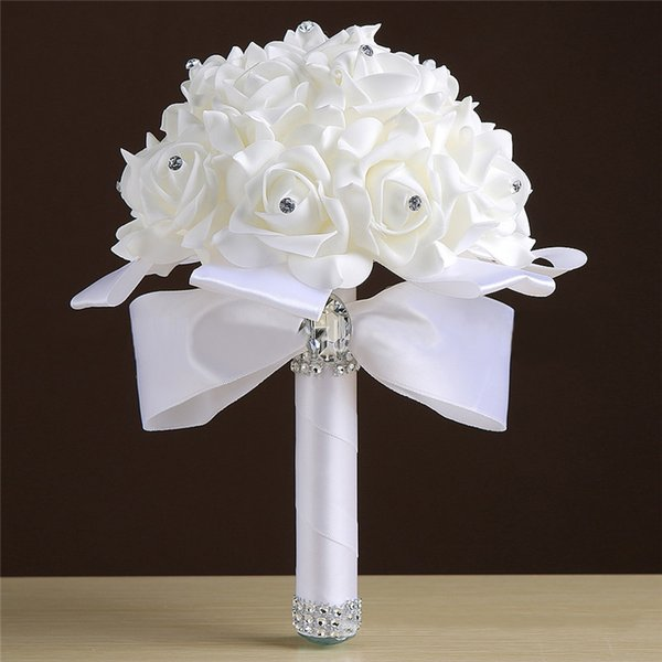 23 * 16cm Günstige Brautjungfer Hochzeit Dekoration Schaum Blumen Rose Braut Brautjungfer Hochzeit Bouquet White Satin Romantische Hochzeit Bouquet
