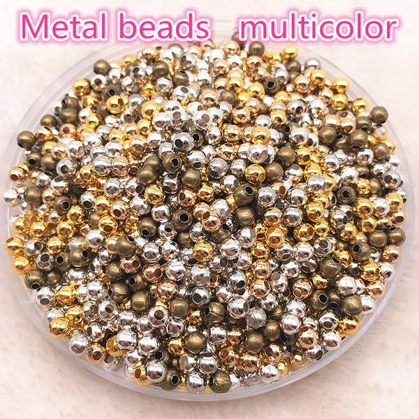 Takı Bulguları Diy 200 adet 3mm Altın / Gümüş / Bronz / Gümüş Ton Metal Boncuk Pürüzsüz Topu Spacer Boncuk Takı Yapımı İçin
