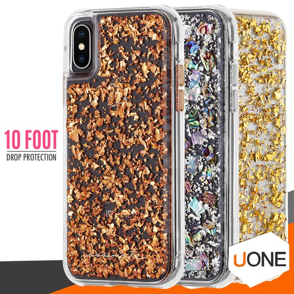 CASE MATE For iPhone X Case Hybrid Armor Real Mother of Pearl Slim Protective Design for Apple iPhone X 8 6 6s 7 Plus Samsung s9 plus cases