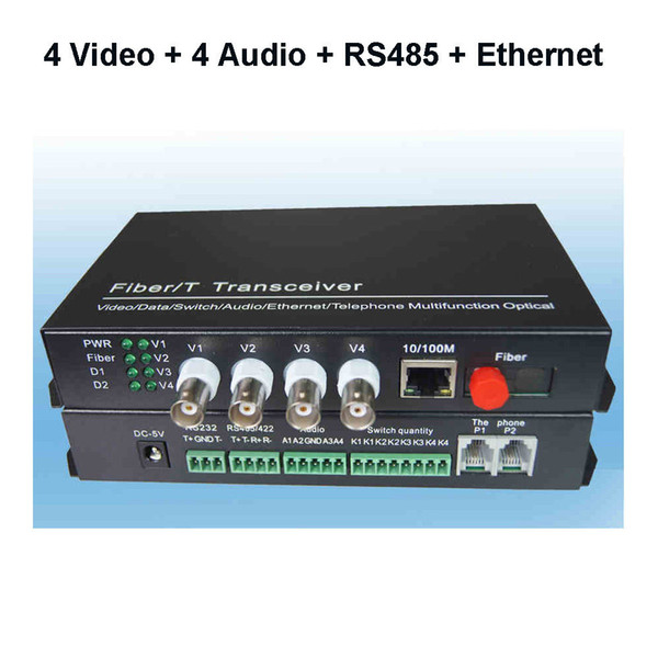 4 Video 4 Audio with RS485 Data and 10/100M Ethernet Fiber optic Media Converter