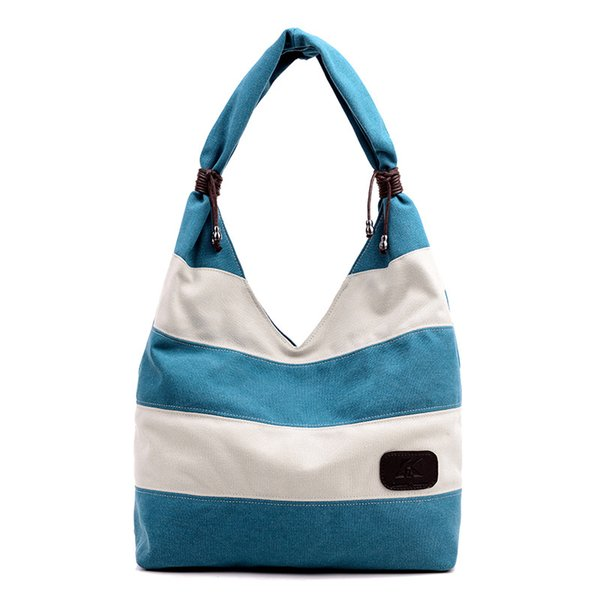 Versatile Casual Stripe Contrast Color Canvas Large Tote Bag Fashion Simple Style Shopping Shoulder Bags With Zipper Closure