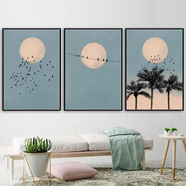 Sun moon bird palm tree paisagem da arte da lona de pintura cartazes e impressões nórdicos retratos da parede para sala de estar decoração