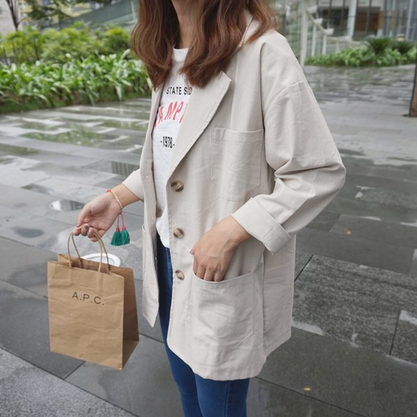 Women 's autumn new style retro European and American style casual suit collar long cotton and linen suit jacket coat