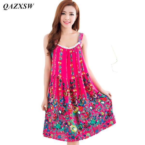 QAZXSW 2018 Nuove Donne Summer Night Dress Plus Size Farfalla Allentata Stampa Casual Da Notte Degli Indumenti Da Notte Camicia Da Notte Abiti YX0077 S923