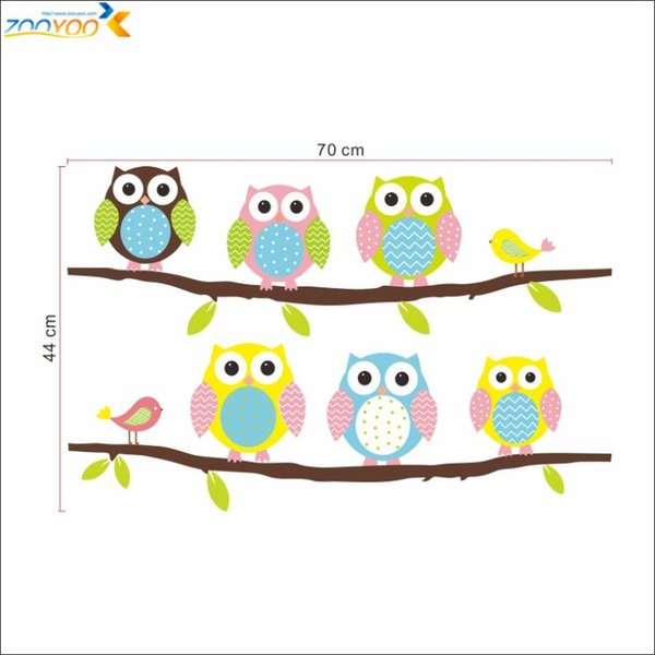 Owls on tree wall stickers for kids rooms decorative adesivo de parede pvc wall decal 1020. animal mural art cartoon posters ZI-374