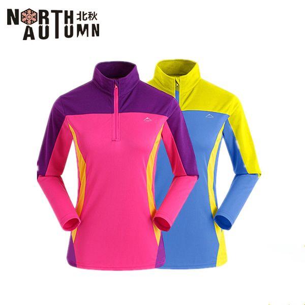 Beiqiu marca donne asciugatura rapida t-shirt manica lunga anteriore cerniera design escursionismo t-shirt da donna abbigliamento da pesca in esecuzione invernale