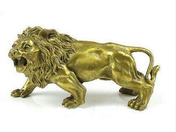 Agradable Brass statue estatuilla León 5.5 ''(pulgadas)