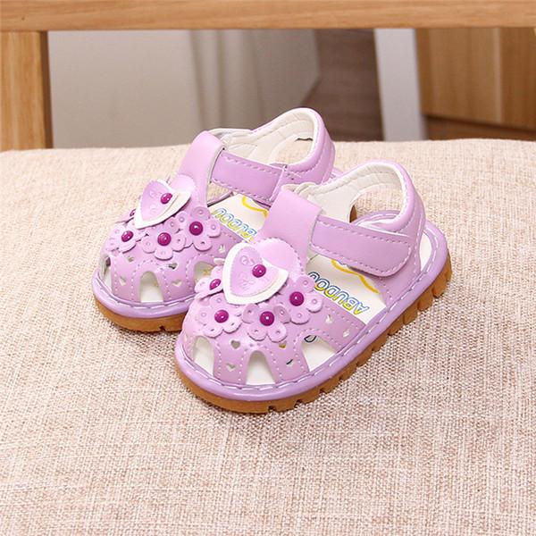 Princesse Nouveau-Né Enfants Bébé Fille Doux Semelle Blanc Violet Rose Fleur Chaussures Premiers Marcheurs D'été Enfants Chaussures De Marche