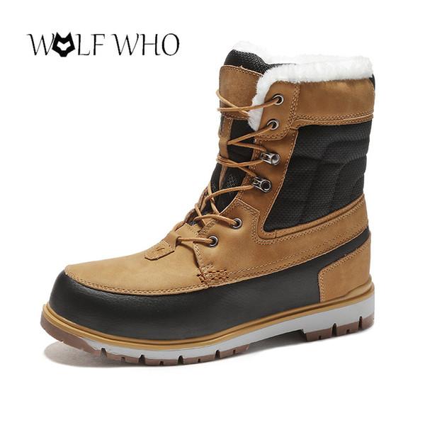 Kurtlar Erkekler Kürk Kış Sıcak Süper Kar Botları Erkekler Kış Çalışma Ayakkabıları Ayakkabı Kauçuk Ayak Bileği Ayakkabı Boyutu 39-46