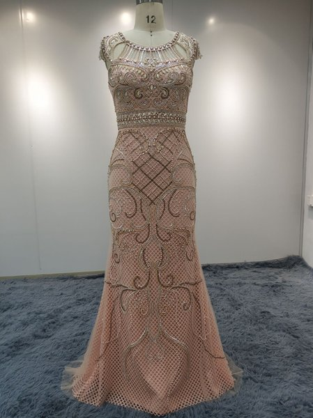 JN2288 Evening Dresses Luxury Bride Dresses Lace Hand Made Bead Wedding Gown Party Dress Sexy Prom Elegant Formal Pretty Long Dress