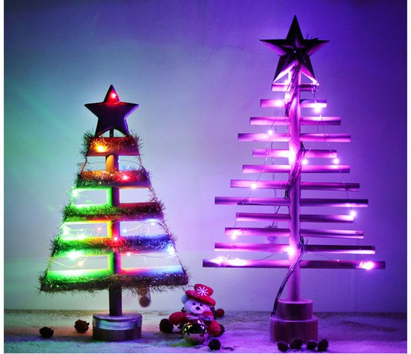 Lighting Christmas Tree Solid Wood Desktop Hotel Storefront Soft-decorated Christmas Ornament Wooden Star Holiday Decorations