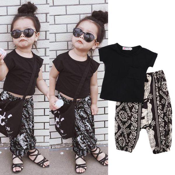 60b8b3f7718f Summer Boho kid baby boys girls clothing black t-shirt geometric harem pants  2-piece set outfits cute kids girl boutique clothes