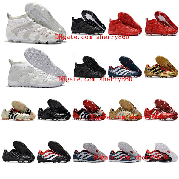 top popular 2018 mens turf soccer cleats indoor soccer shoes Crampons de football boots predator mania Precision Accelerator DB David Beckham FG Gold 2020