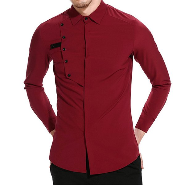Sexy Mens Shirts Casual Wedding Formal Blusa Tops Elegant Hot Sale Novelty Shirt Male Vintage Patchwork Long Sleeve Blouse Top