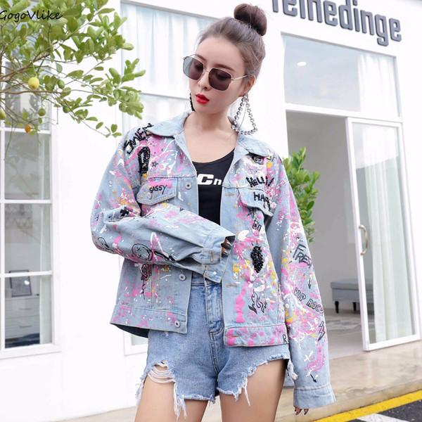 Jeans Coat Graffiti Print Women Blue Beading Jean Coat 2018 Autumn Denim Jacket Denim Clothing Punk Hip Hop LT642S50