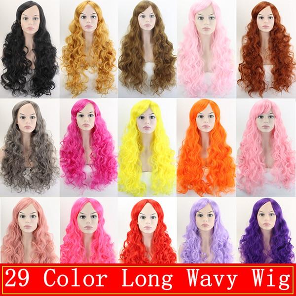29 Color Cosplay Pelucas Peluca Ondulada Larga Fibra de Alta Temperatura Pelo Sintético Rosa Dorado Amarillo Partido de Las Mujeres Peluca + Pelucas Cap