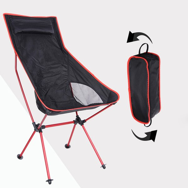 New Outdoor Folding Chair Portable Barbecue Camping Picnic Chair Beach Leisure Moon Chairs Aluminum Alloy Fishing Chair