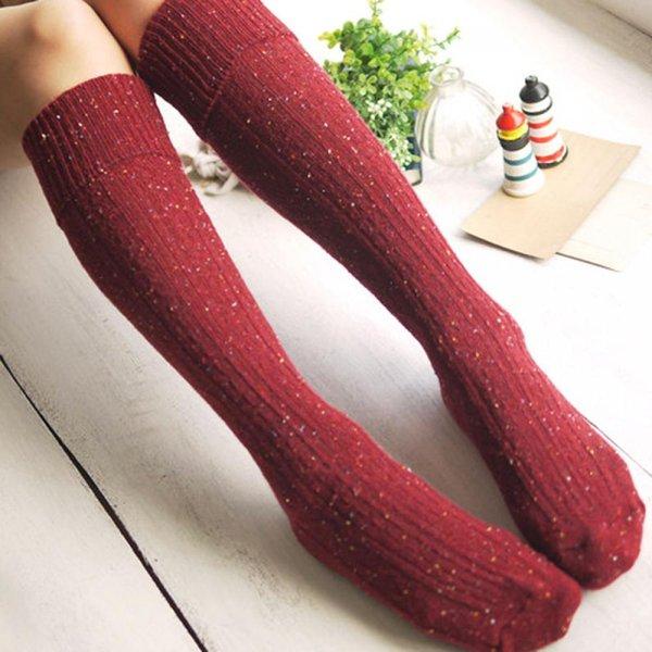 Hot Sale Women Girls Autumn Winter Wool Blended Warm Socks Long Turn Up Rib Dot Knee High Socks Winter Boot Accessories