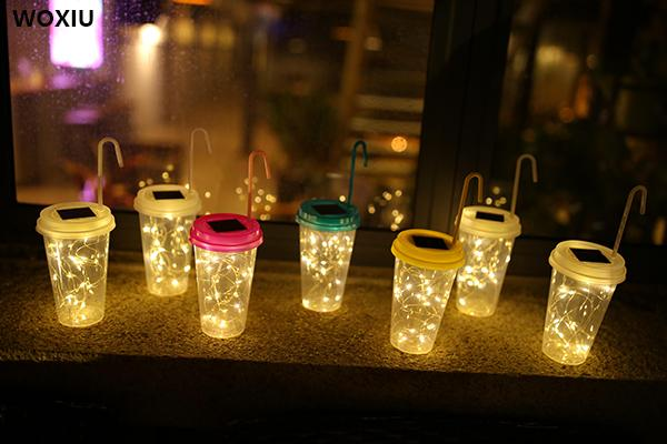 WOXIU solar led star drink cup lights decoration for home garden store or shop Cafe pub hotel party and holiday tree