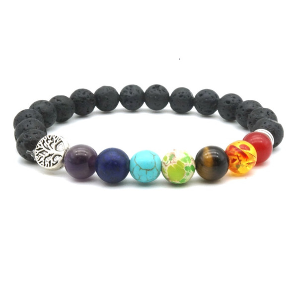 Seven Chakras Tree of Life Charms 8mm Black Lava Stone Beads DIY Aromatherapy Essential Oil Diffuser Bracelet Yoga Jewelry