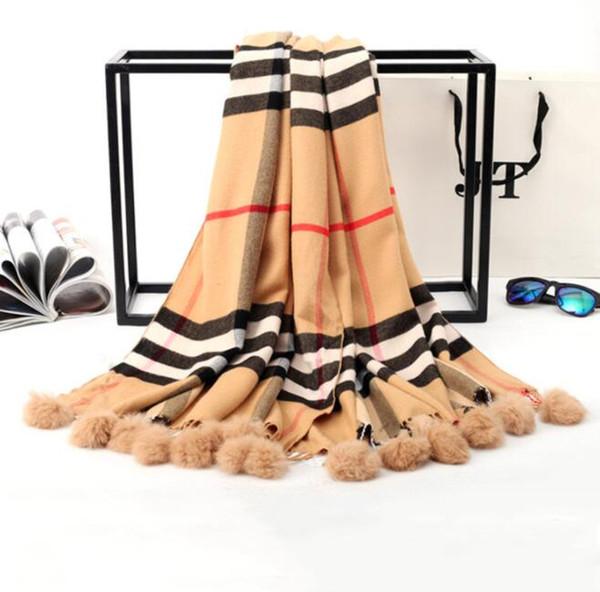 60*170cm women Plaid Scarf imitation cashmere a long plaid rabbit fur ball scarf Classic Plaid Shawl Scarves KKA5927