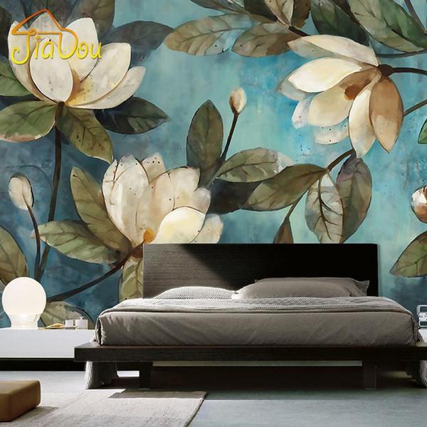 Großhandels Gewohnheit Wandbild Tapete Europäische Malerei Blumen Retro  Wohnzimmer TV Hintergrund Tapete Eingang Schlafzimmer Vlies