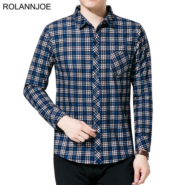 R.N.J. Brand Classic Old school Plaid Shirts Mens Clothes 2018 Long Sleeve Mens Dress Shirts Casual Slim fit Men Social Shirt