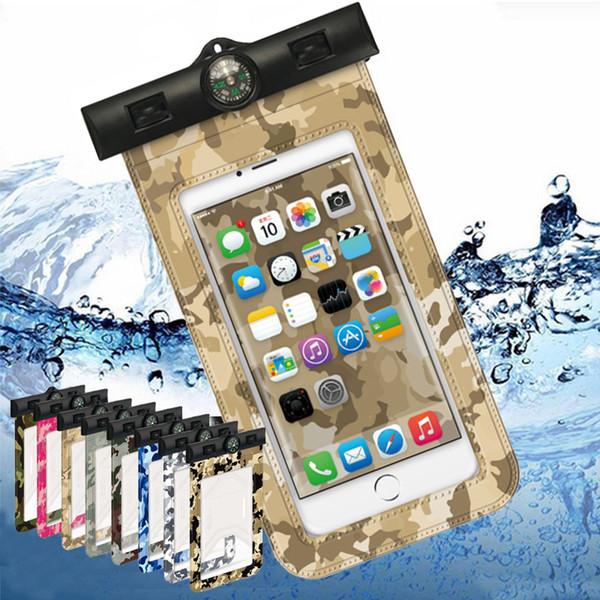 Camuflagem impermeável phone case pvc geral natação mergulho esporte proteção saco seco para iphone samsung celular blister cartão de embalagem