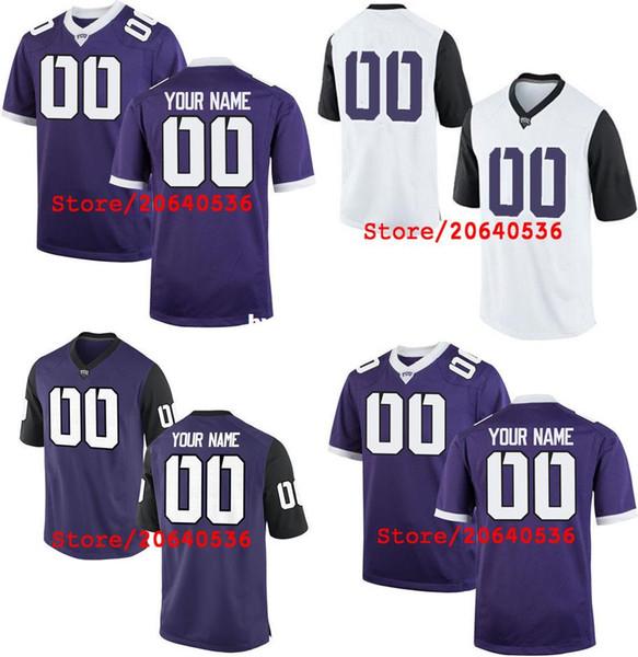 Дешевые пользовательские TCU рогатые лягушки колледж Джерси мужские женщины молодежь ребенок персонализированные любое количество любого имени сшитые фиолетовый белый футбол трикотажные изделия