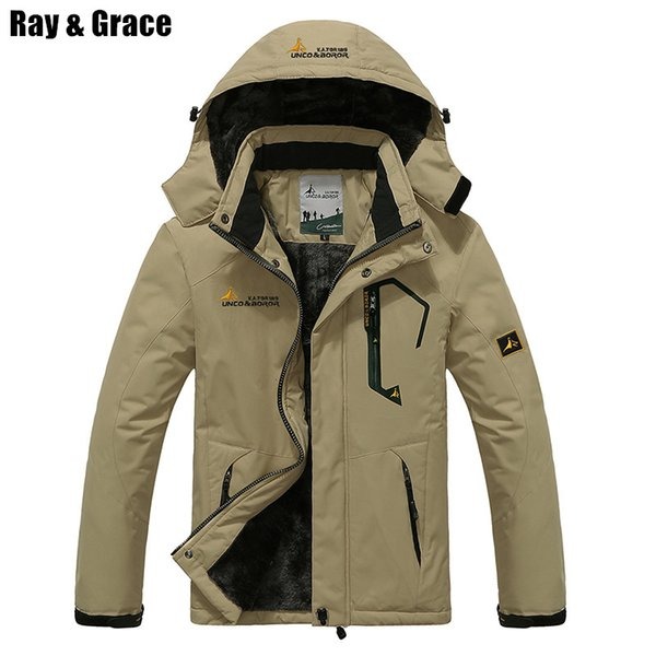 RAY GRACE Winter Jacket Men Outdoor Thick Fleece Thermal Coat Waterproof Hiking Jacket Camping Mountain Climbing Parka Plus Size cheap new