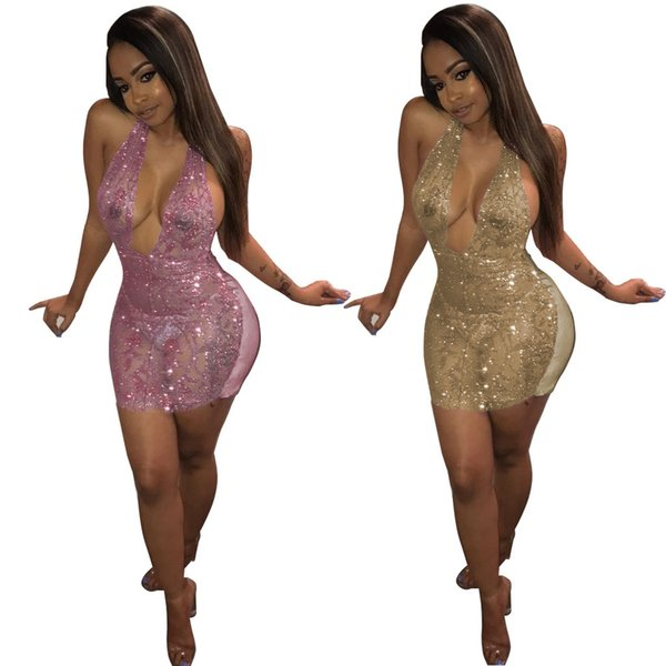 2018 Hot Sale Clubwear Sexy Short Dress Sequinned Hollow Out Transparent Dress Backless Club fashion show v neck sequin plus size dre