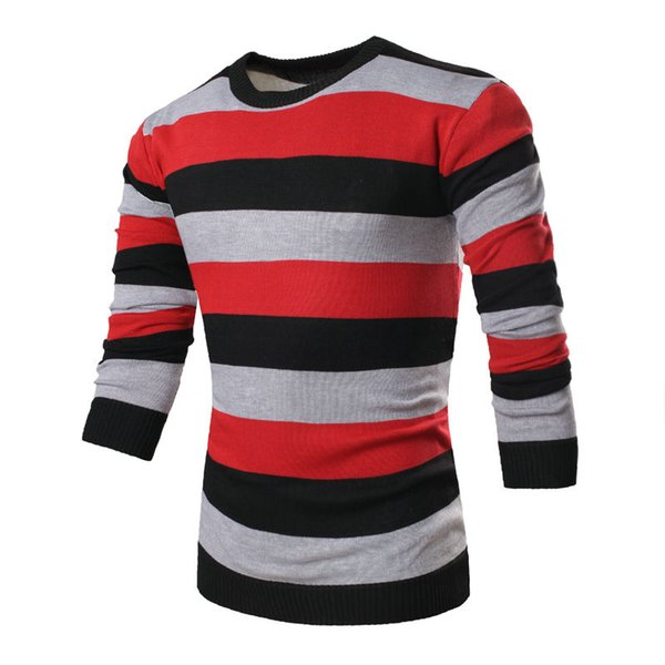 Mens Pullover Striped Sweater Brand Clothing Tops Fashion Three-Color Stitching O-Neck Sweater Knitted Coat Pull Homme MT06