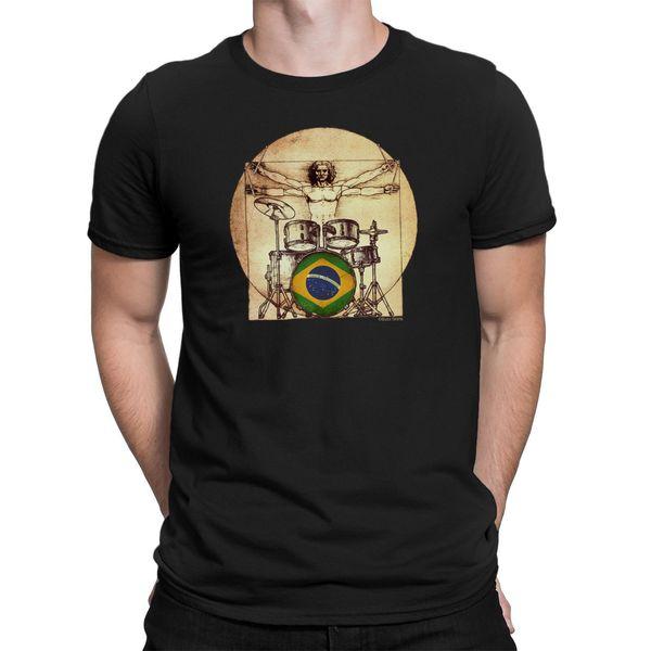Mens BRAZILIAN DAVINCI DRUMMER T-Shirt FOOTBALL Olympics Tee BRAZIL