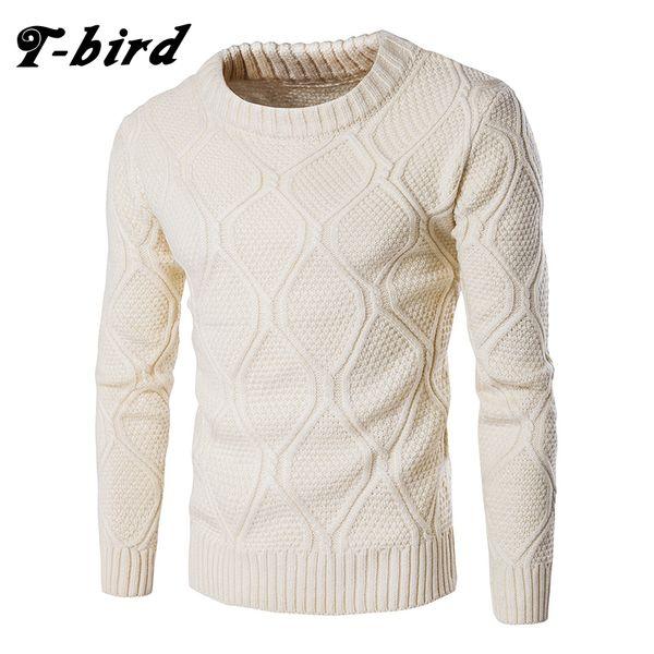 T-bird Sweater Men Woolen Knitwear Men O neck Long Sleeve Slim Warm Sweaters Grometric Pull Homme Beige Pulllvers Knitwear S1015