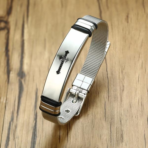 Kemer Stil Paslanmaz Çelik Hollow Erkekler Için Çapraz Örgü Ayarlanabilir Bilezik Pulseira Braslet Bileklik Edelstahl Armband Takı