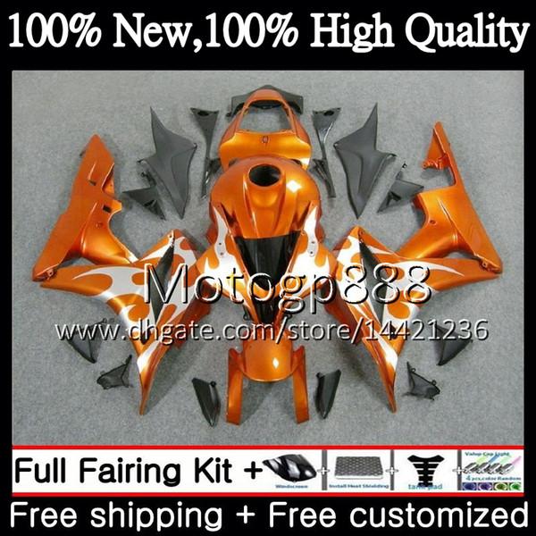 Corps et réservoir d'injection pour HONDA CBR 600RR 07 CBR 600 RR F5 07 08 60PG0 CBR600RR CBR600F5 Orange argent CBR600 RR 2007 2008 Carrosserie