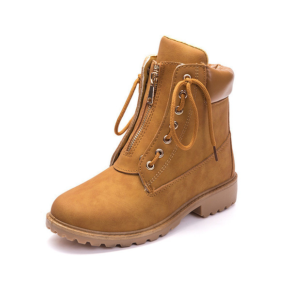 Waterproof Leather Boots Women Ankle Boots for Women Cool Motocycle Flat Boot 2019 Spring Autumn Classic Girls Lace Up Rubber Boots