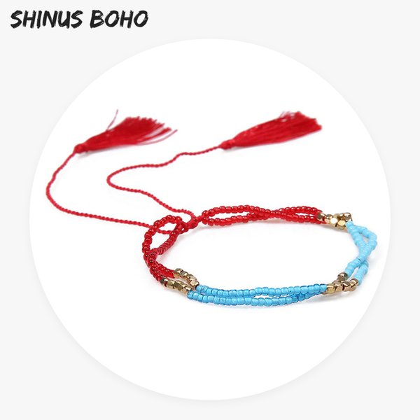 SHINUSBOHO Multi- Layer Miyuki Beaded Bracelet for Men Women Red Blue Tassel Statement Bracelet Adjustable Bohemian Jewelry Gift