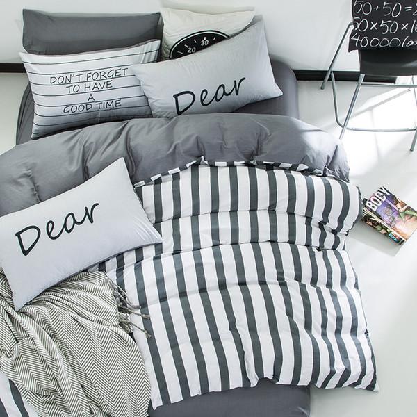 4pcs 100%cotton white grey stripe kids boys bedding set twin queen size bedcover set fit/bedsheet duvet cover pillowcases