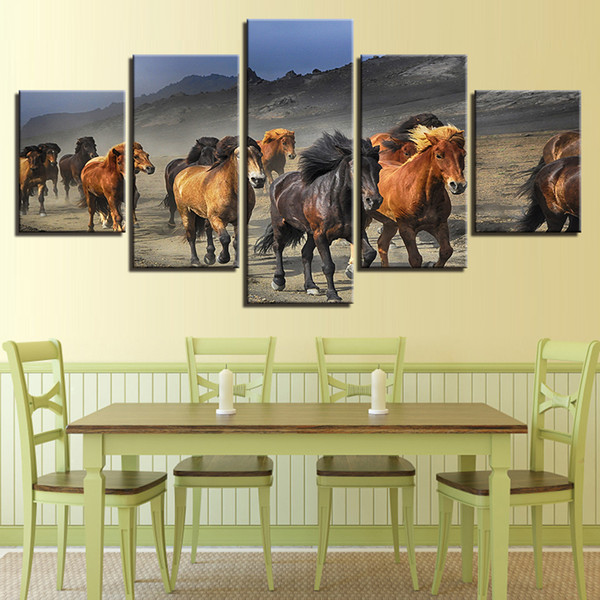 Decor For Living Room HD Printing Pictures Wall Art 5 Pieces Animal Horse Family Running Natural Scenery Modular Canvas Painting