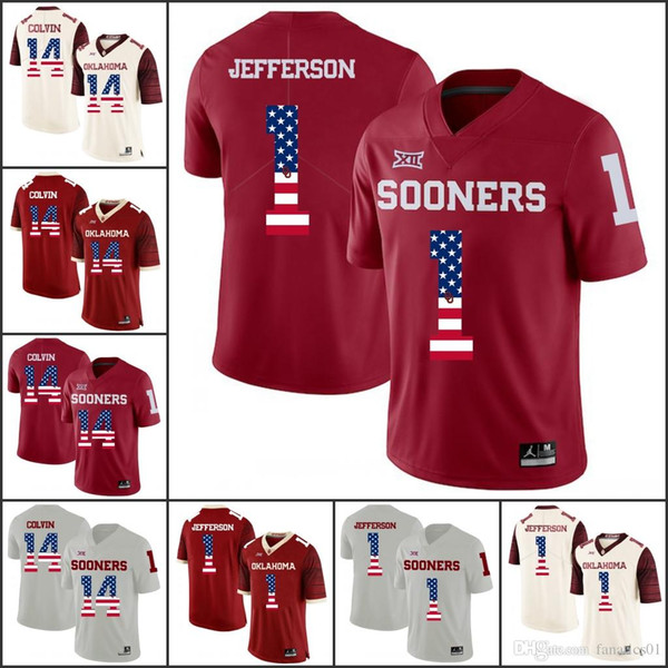 National flag Oklahoma Sooners College Football NCAA Kyler Murray Baker Mayfield Sam Bradford Adrian Peterson Samaje Perine Brian Jersey