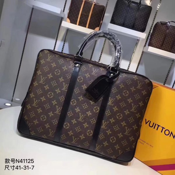 8f3404cd3fca LOUIS VUITTON High Quality Handbags Women and Men Leather Laptop Bag Brand  AAA+ Shoulder Bags Business